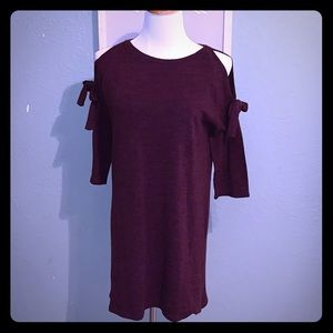 Burgundy cold shoulder sweater dress